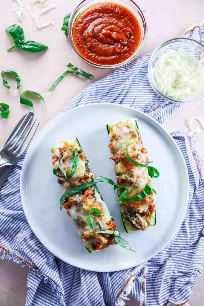 5 Ingredient Chicken Parmesan Zucchini Boats