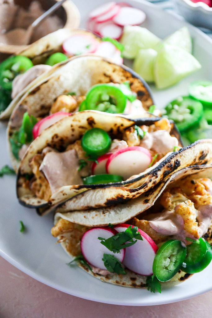 Crispy Cauliflower Tacos with Chipotle Lime Crema