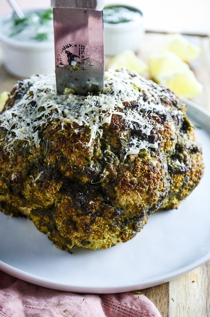 Pesto Crusted Cauliflower with Lemon Dill Yogurt Sauce