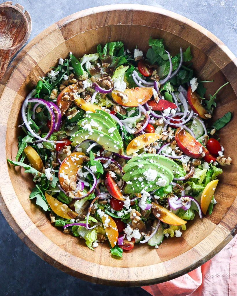 Summer Peach Salad with Avocado and Goat Cheese