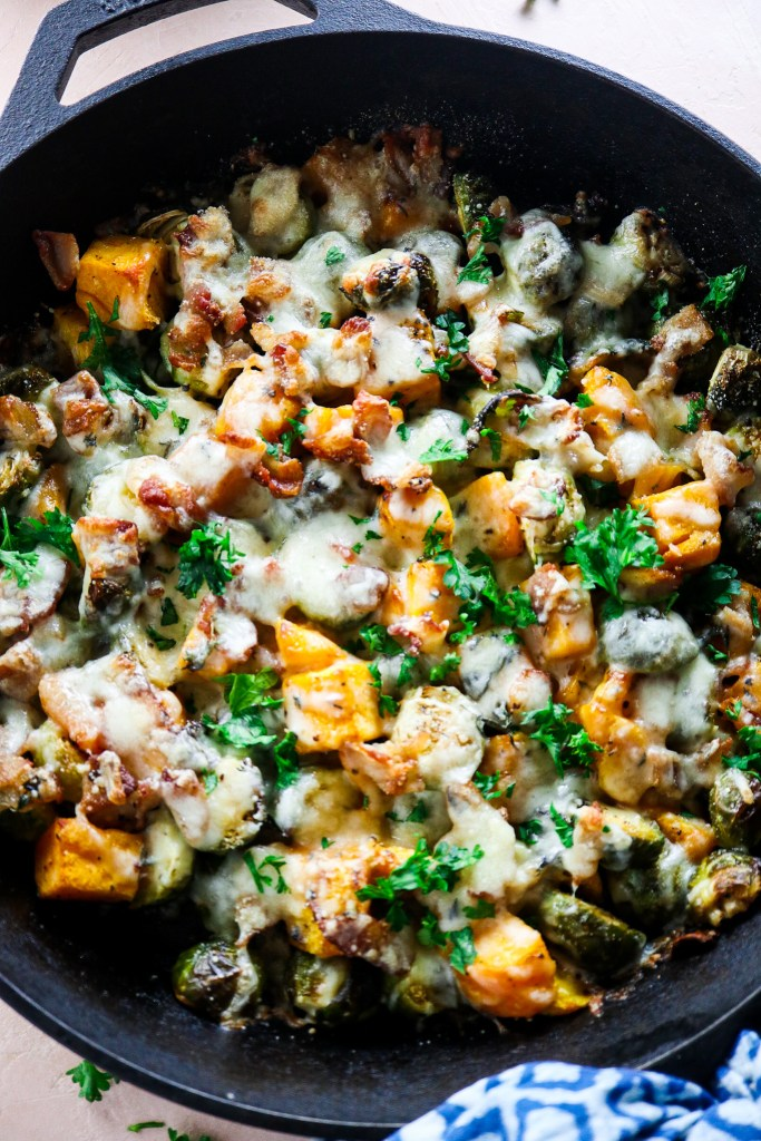 Cheesy Butternut Squash Skillet with Brussels sprouts and Bacon