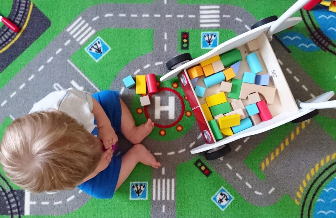 Hape Wooden VW Beetle Walker - building bricks