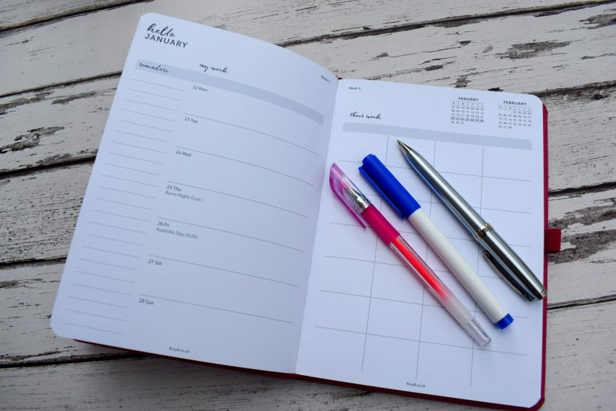 Busy B 2018 Family Diary - page layout