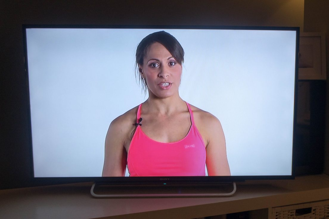 OneFitMama - workout DVD - the instructor looking after us