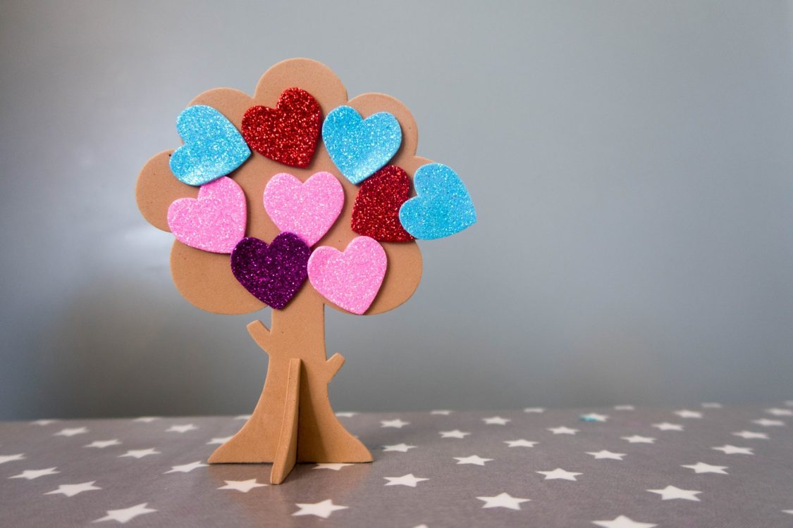 Handmade Mothers Day - love heart trees - the finished result