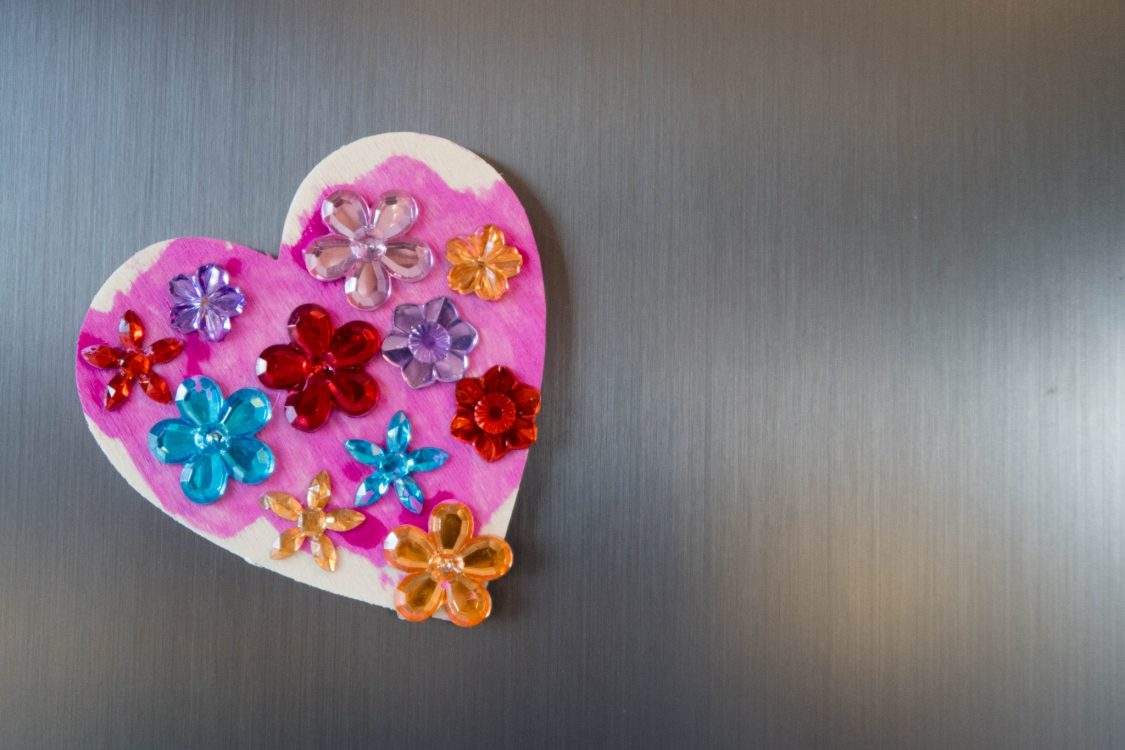 Handmade Mothers Day - love heart magnets - the finished result
