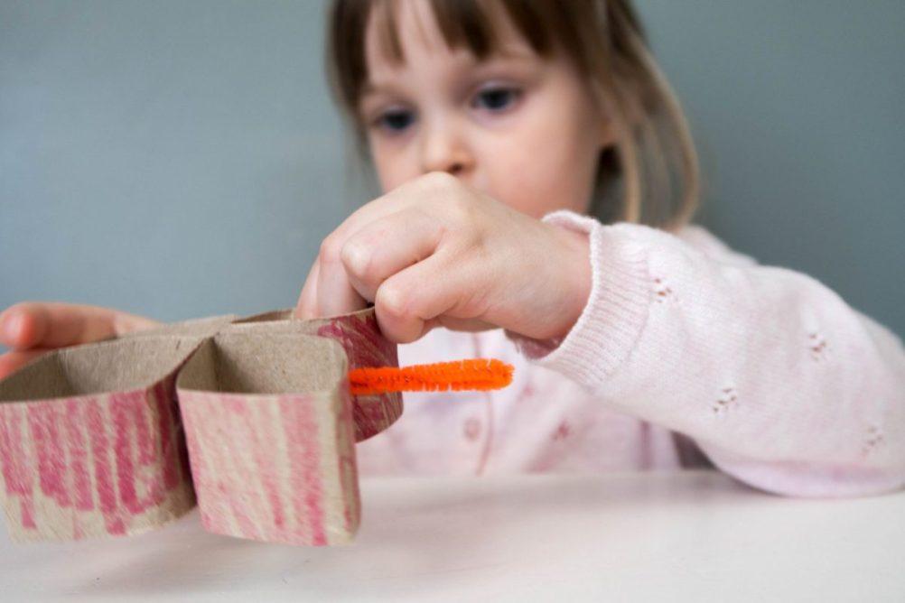 toddler craft - toilet roll butterflies - decorating underway