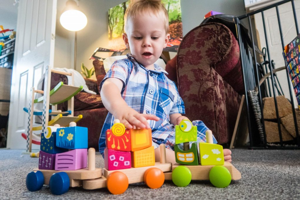 Hape Fantasia Blocks Train - in play