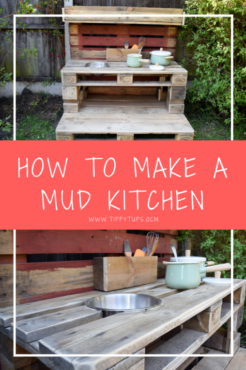 How to make a mud kitchen out of pallets. The perfect DIY project for your kids. Create your own unique mud kitchen out of recycled pallets, using just a drill, saw and some nails. Personalise it to meet your own needs. The perfect Christmas present or birthday present for kids who love to be outdoors and get messy