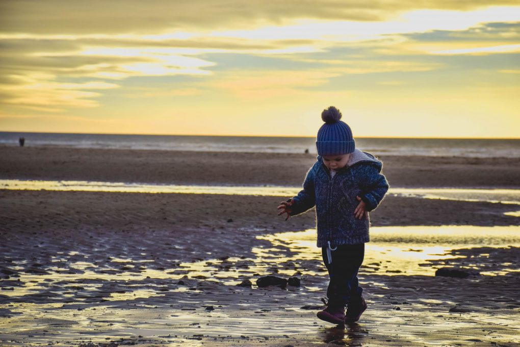 Blackpool illuminations - one boy on the beach