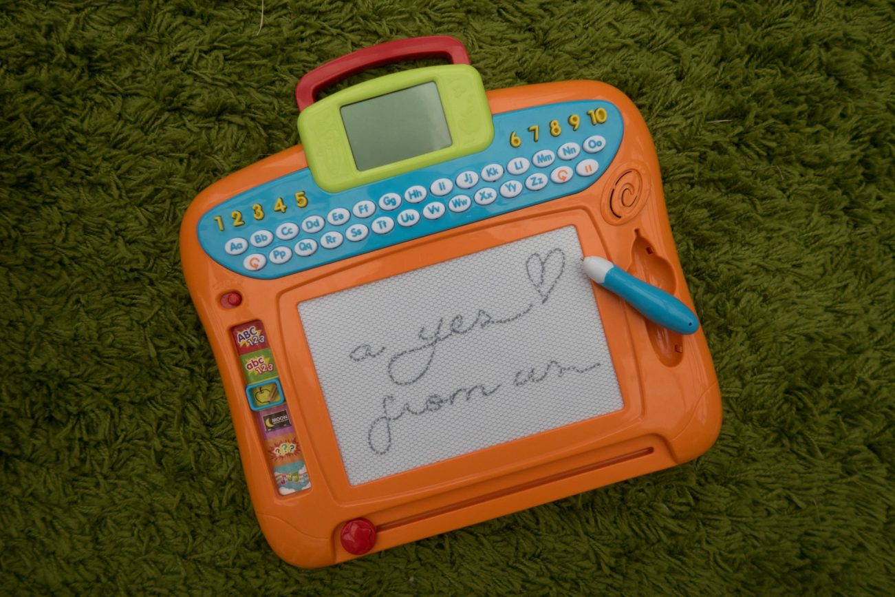 Learning A to Z with the Write 'N Learn Drawing Board - it's a yes from us
