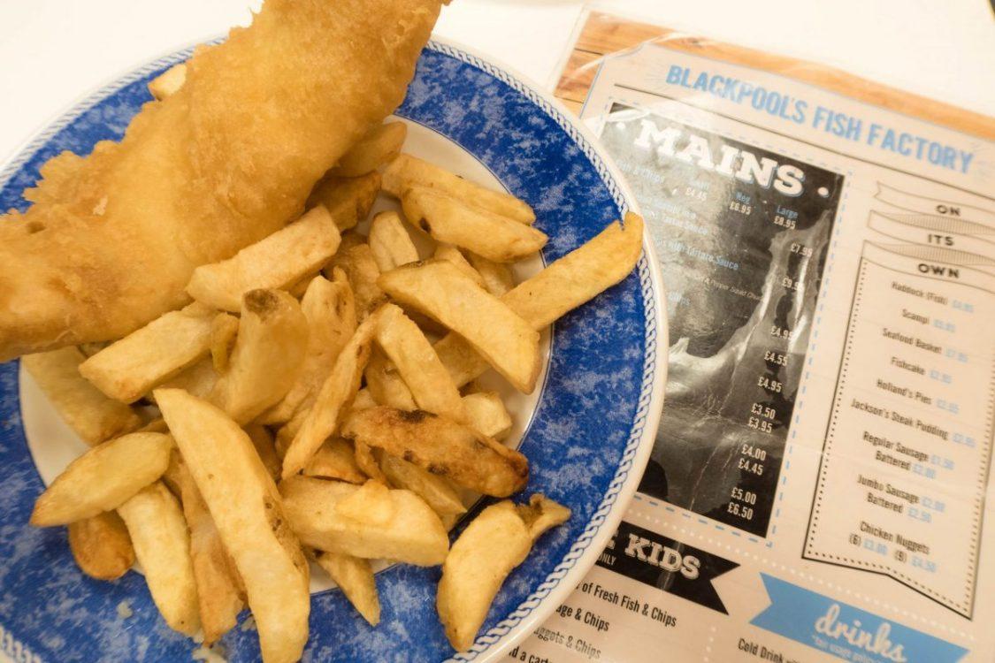 Blackpool illuminations - fish and chips dinner
