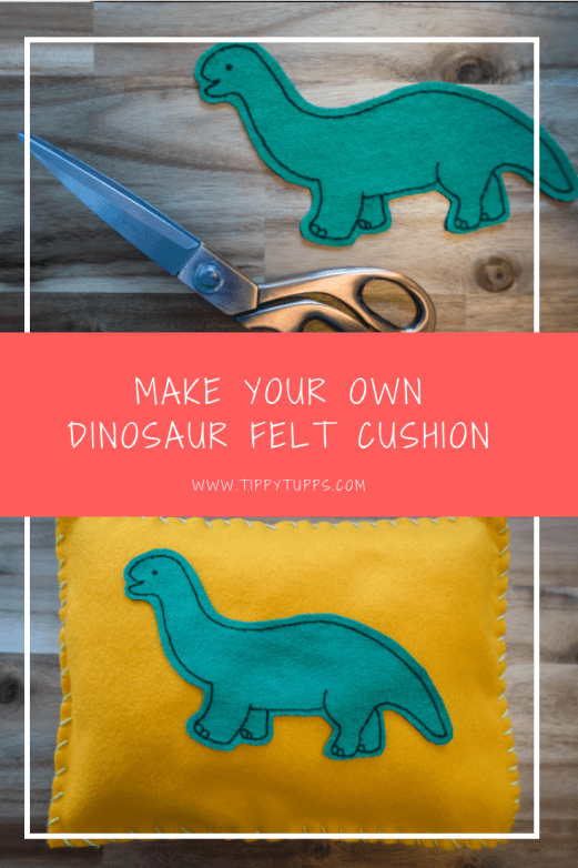 the quickest and easiest little dinosaur felt cushion that was that simple to make. It's a great toddler / pre-schooler craft to keep them entertained for a little while!