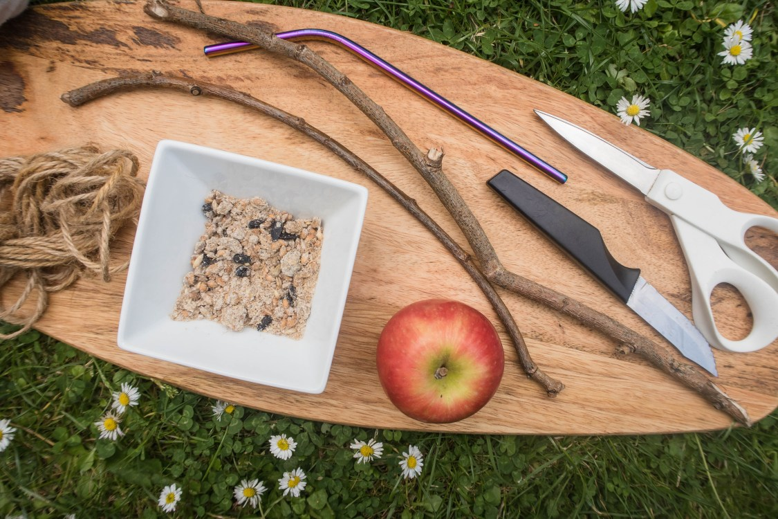 what you need to make your own apple bird feeder