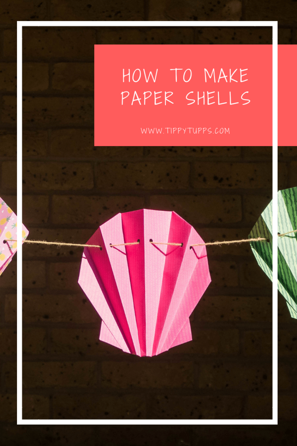 Really simple but effective paper shells, perfect for decorating a sea, mermaid or pirate themed children's birthday party