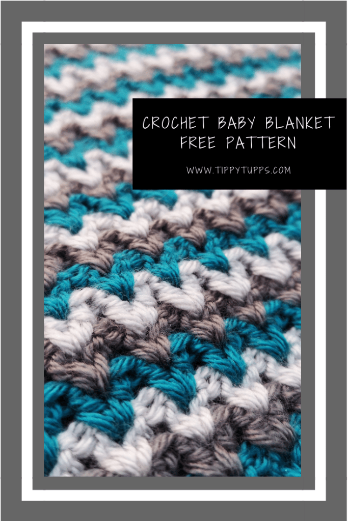 Free pattern. This crochet baby blanket is a quick and easy pattern but it looks so effective while being wonderfully adaptable to any colour pattern.