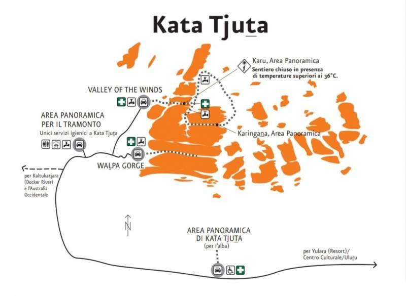 Mappa dei percorsi e dei punti panoramici di Kata Tjuta in Australia