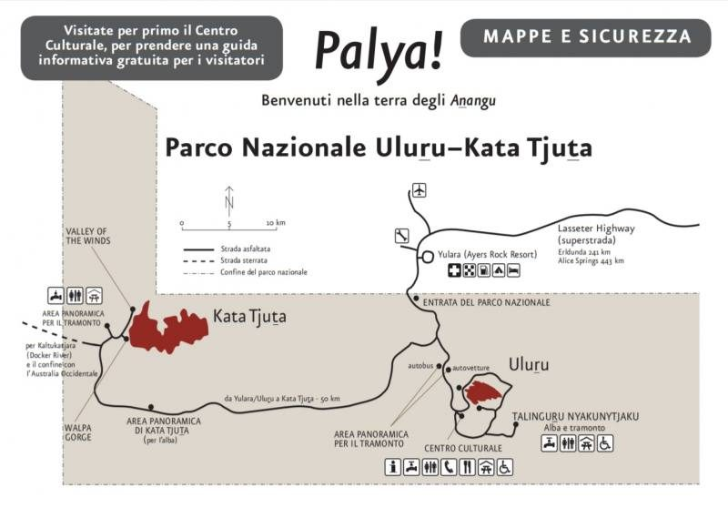 Mappa del Parco Nazionale Uluru-Kata Tjuta in Australia