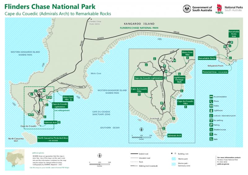 Mappa del Parco Nazionale Flinders Chase di Kangaroo Island