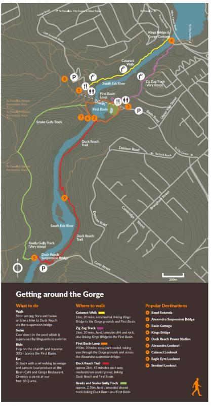 Mappa di tutti i percorsi all'interno della Cataract Gorge di Launceston, in Tasmania