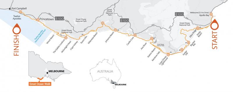 Mappa percorso trekking Great Ocean Walk