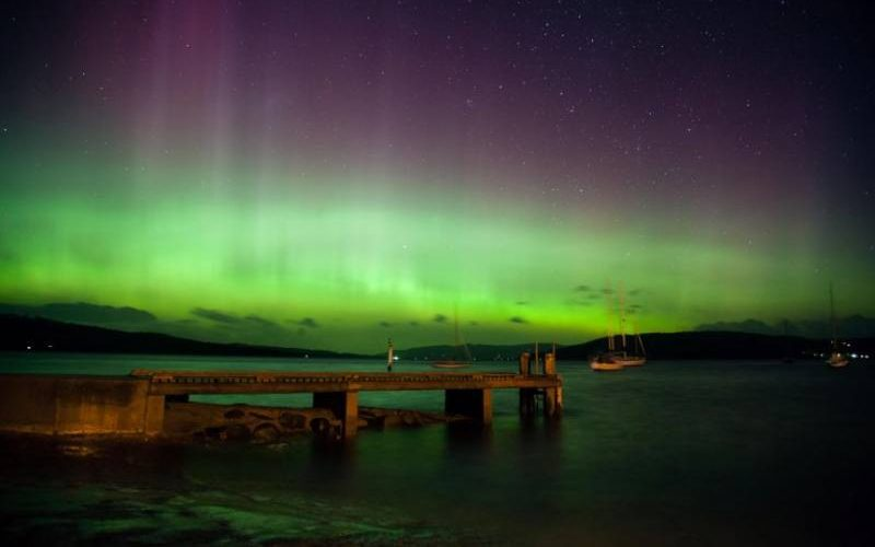 "Aurora Australia ""Southern Lights"" vista dalla Tasmania in Australia"