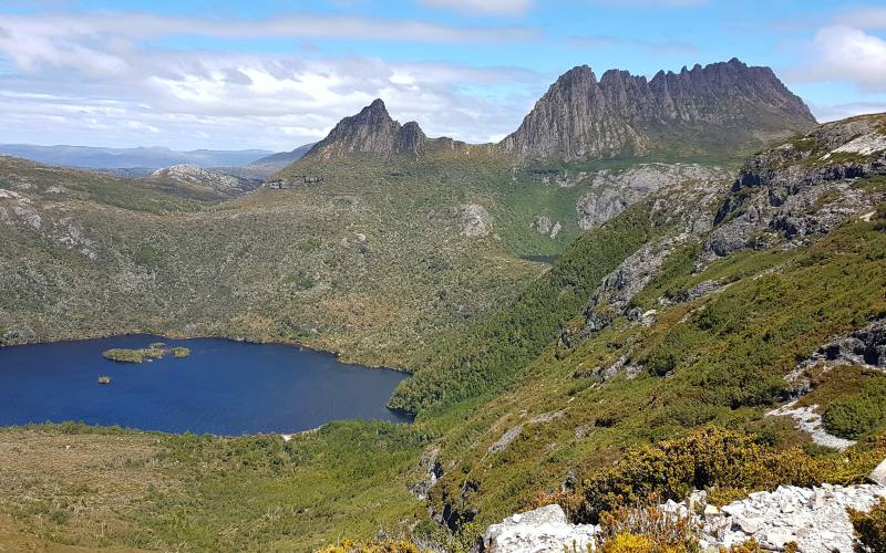 "Punto panoramico ""Marion Lookout"" su Cradle Mountain e delle sue lagune in Tasmania"