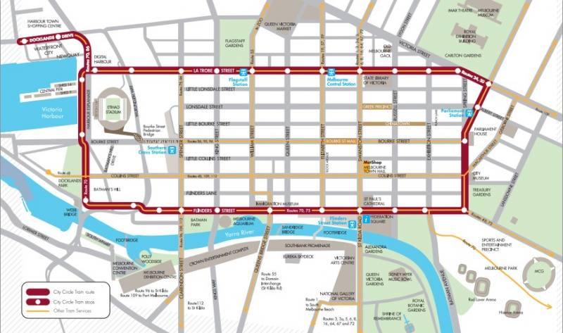 Percorso gratuito del tram 35, il City Circle di Melbourne