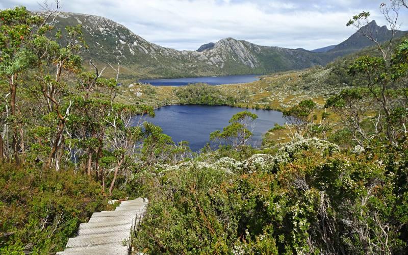 Vista dall'alto del Lake Lilla e di Cradle Mountain sullo sfondo nel Parco Nazione in Tasmania