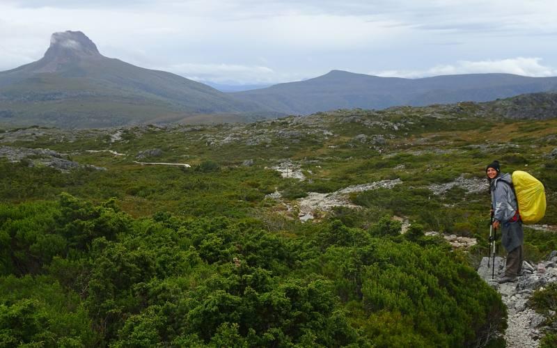 Percorso Overland Track con vista Barn Bluff in Tasmania
