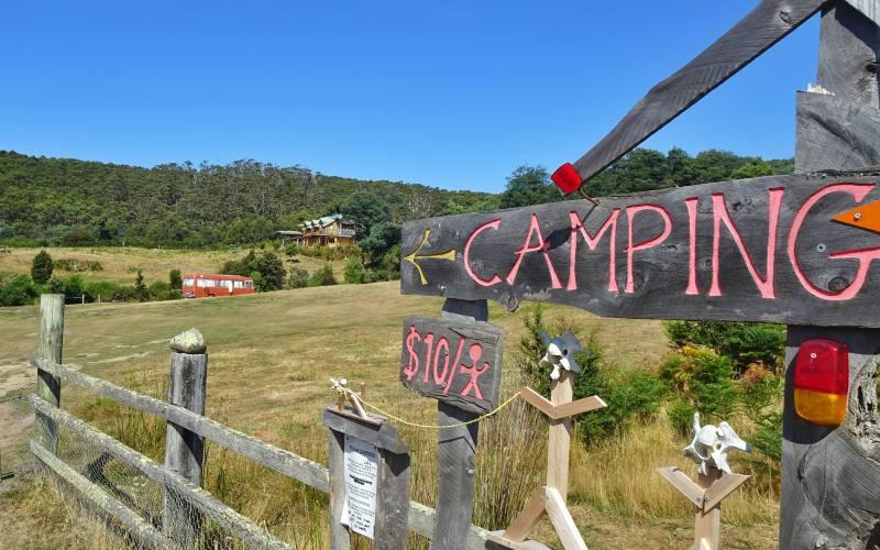 """Entrata campeggio """"Cape Raoul Campground"""" nella Tasman Peninsula in Tasmania"""