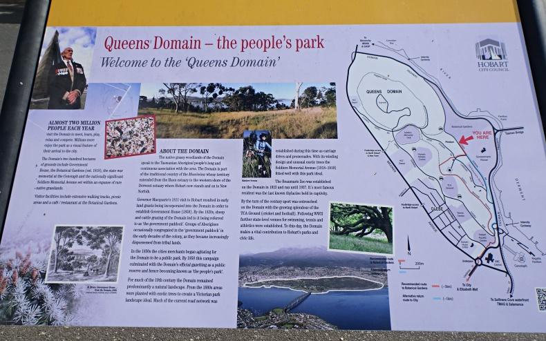 """Mappa e storia del parco cittadino """"Queens Domain"""" nel centro di Hobart in Tasmania"""