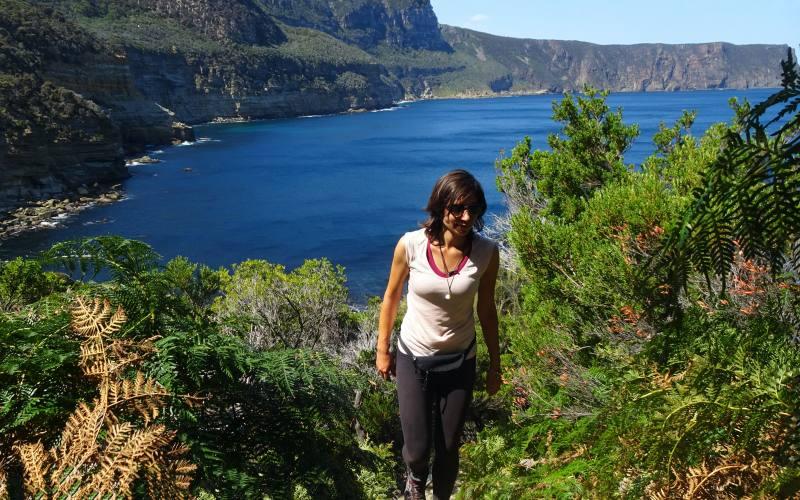 Scalinata con vista alla spiaggia Shipstern Bluff, percorso di trekking da Cape Raoul nella Tasman Peninsula