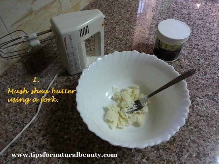 Mash shea butter using a fork