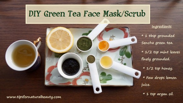 DIY green tea face mask recipe scrub