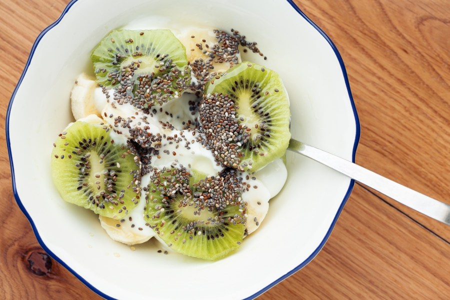 Chia seeds, yogurt and fruits