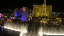 Las Vegas Bellagio Fountains At Night (with Paris Hotel & Eiffel Tower In Background)