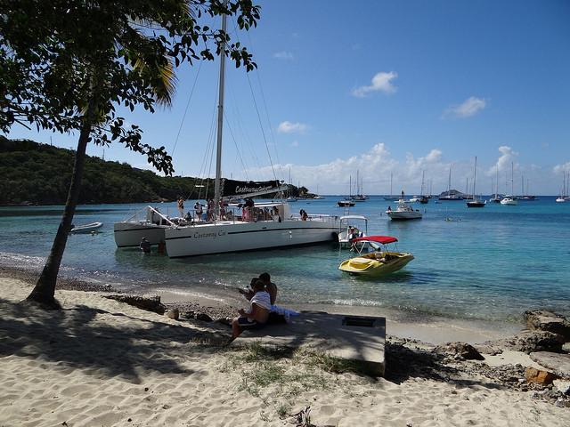 Catamaran on Honeymoon Beach St. Thomas Caribbean