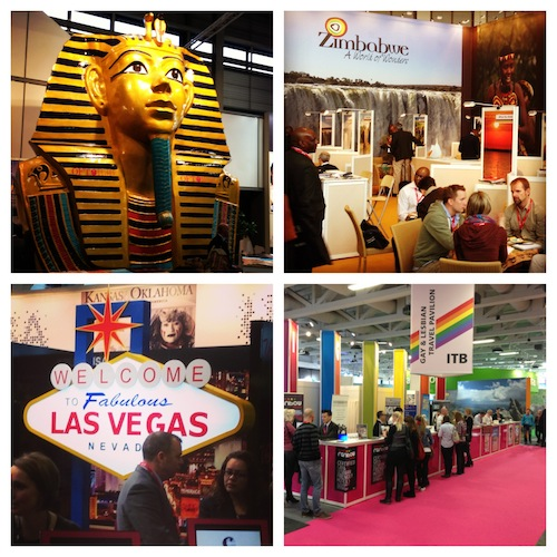 ITB Berlin. Some of the stands that caught my eye. Egypt, Zimbabwe, Las Vegas and LGBT Travel