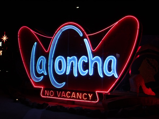 The restored La Concha motel sign at Las Vegas Neon Museum