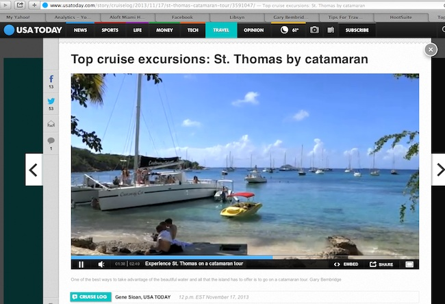 USA Today features Gary Bembridge's St Thomas Tour Video