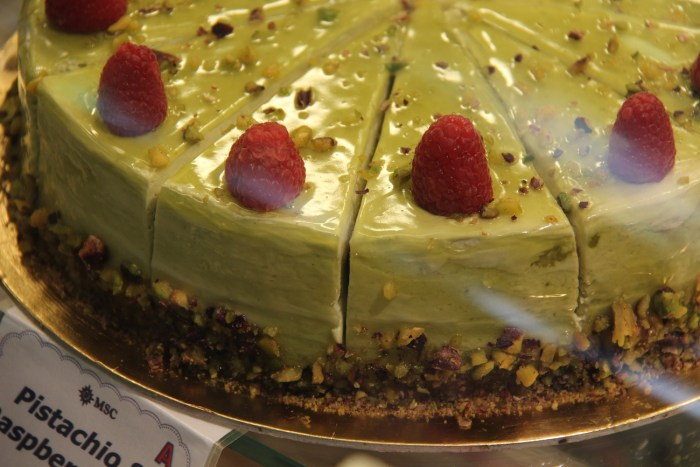PIstachio and Raspberries Cheesecake on board MSC Divina Piazza del Doge