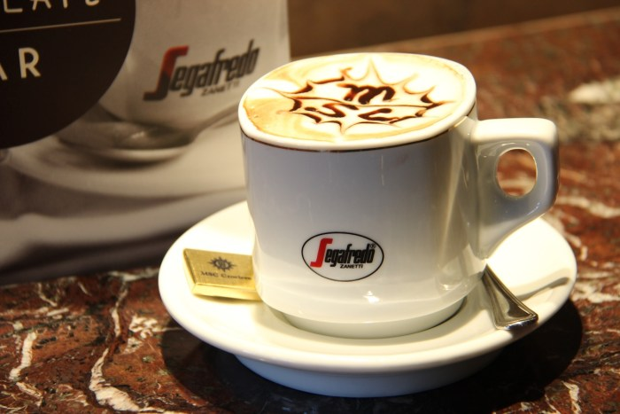 Segafredo Coffee with MSC Logo on MSC Divina