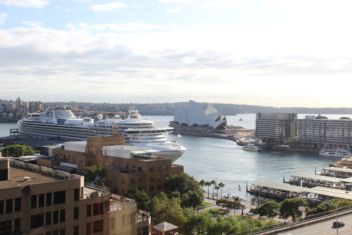 Diamond Princess Cruise Ship from Room 1609 Four Seasons Sydney