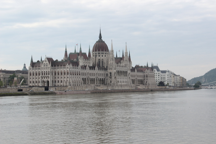 Hunagrian Parliament buidling as seen while sailing into Budapest on the Danube