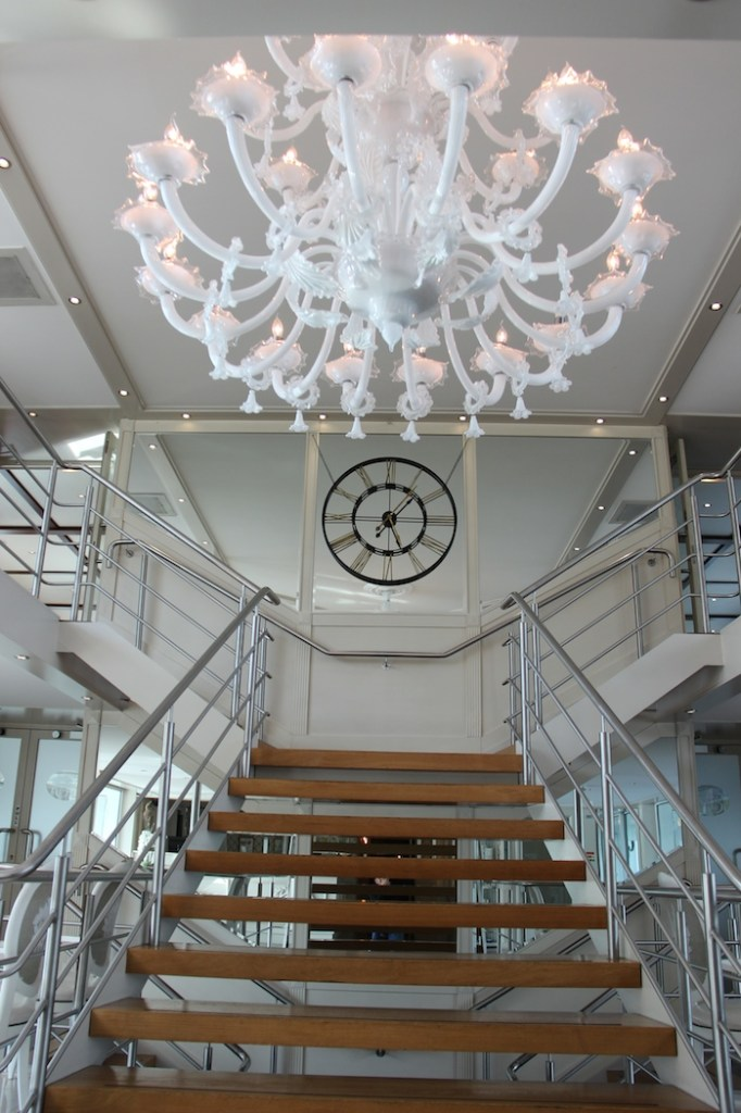 Uniworld River Beatrice Lobby Stairs and Chandelier