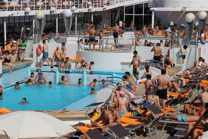 MSC Cruises Lirica Deck 11 is the hub of the ship on sunny days