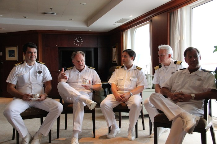 Crystal Serenity Senior Crew: Maro Car (Vice Captain), Captain Birger J. Vorland, Robert Bayfield (Chief Engineer), Josef Lumetsbeger (Hotel Manager), Rick Spath (Cruise Director)