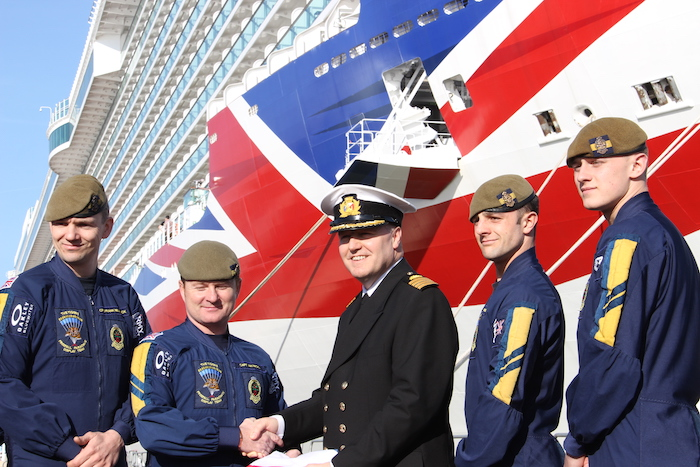 P&O Cruises Britannia Captain and Parachute Team