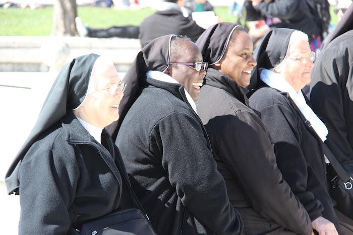Nuns pose in Prato della Valle Padua Italy